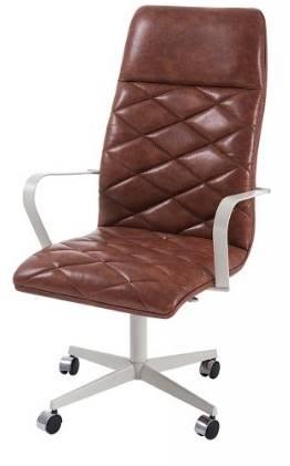 Cadeira Office Alta Jobs Courino Marrom Base Cromada 115cm - 61303