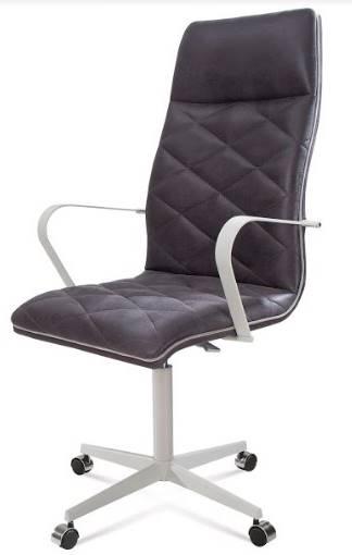 Cadeira Office Alta Jobs Courino Marrom Escuro Base Cromada 115cm - 61304