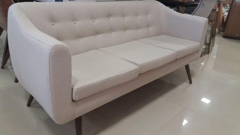Sofa Mister 3 Lugares Linho Verde Base Preta 175cm - 61322