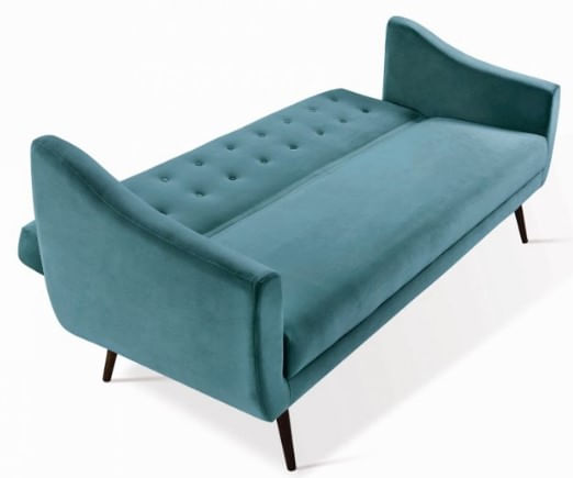 Sofa Cama Mister Veludo Azul Base Preta 210cm - 61328