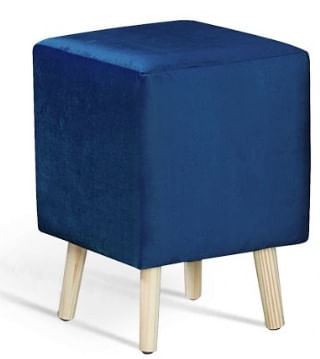 Puff Cube Azul Marinho Pes Palito Pinus 45cm - 61336