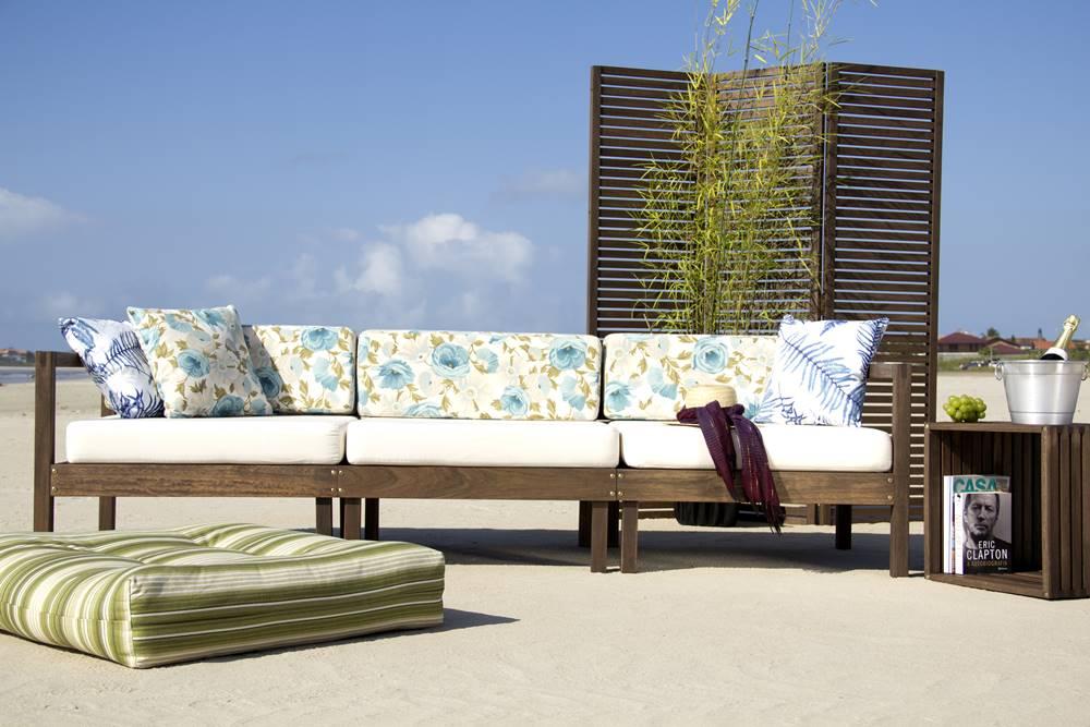 Sofa Componivel Lazy 3 Lugares Estrutura Jatoba + Almofadas 249cm - 61384