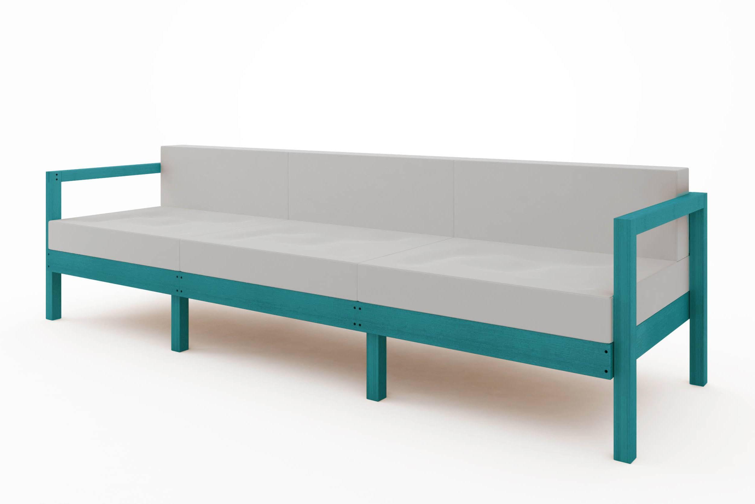 Sofa Componivel Lazy 3 Lugares Estrutura Azul + Almofadas 249cm - 61394