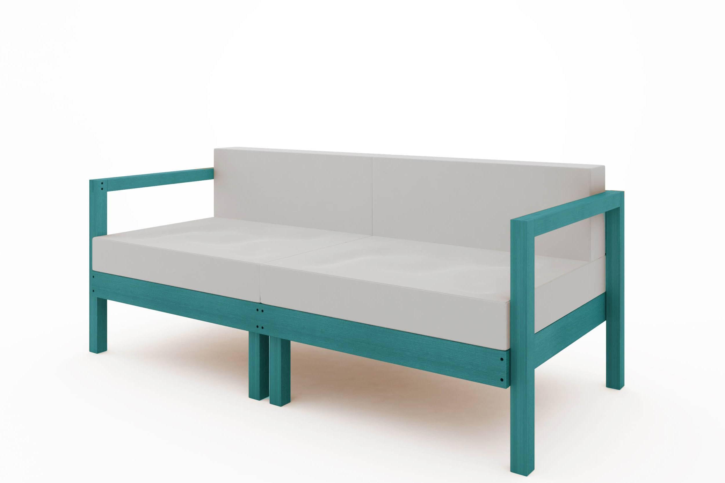 Sofa Componivel Lazy 2 Lugares Estrutura Azul + Almofadas 169cm - 61392