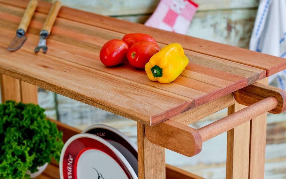Carrinho Gourmet Troia Estrutura Stain Jatoba 88cm - 61415