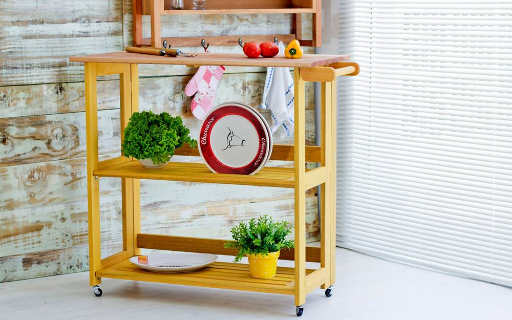 Carrinho Gourmet Troia Estrutura Amarelo 88cm - 61419