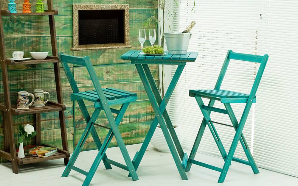 Banqueta Alta Bistro Azul 100cm - 61628