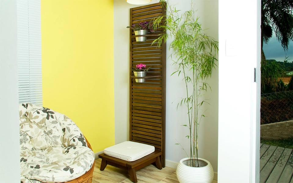 Banco Meditação Zen Pequeno Estrutura Stain Nogueira + Almofada 45cm - 61656
