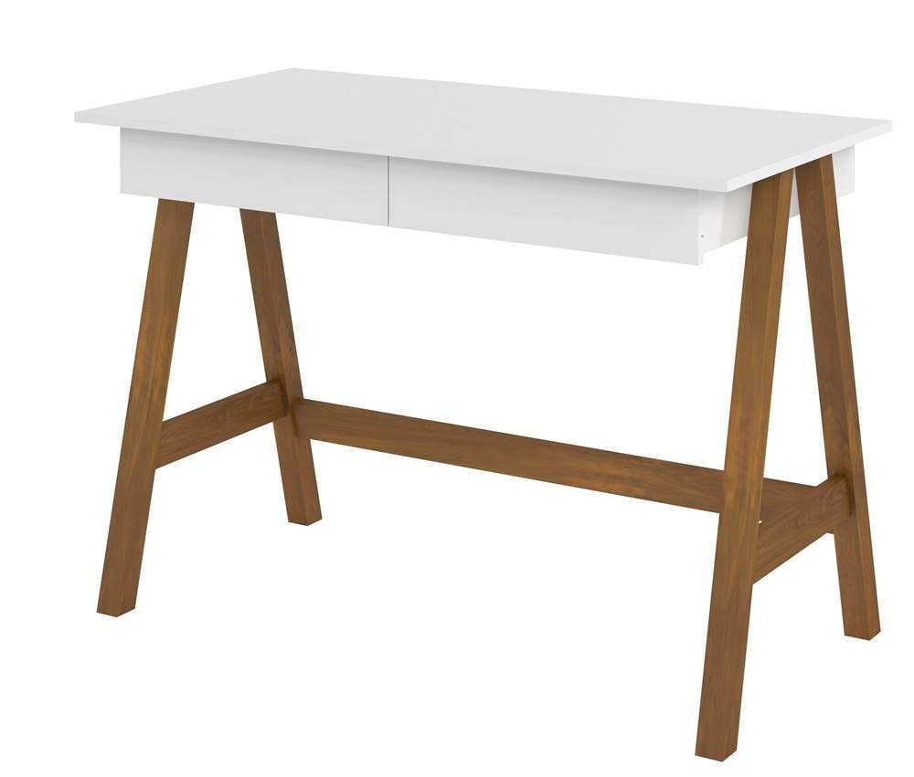 Escrivaninha Old Tampo Branco Base Amendoa 109cm - 61750