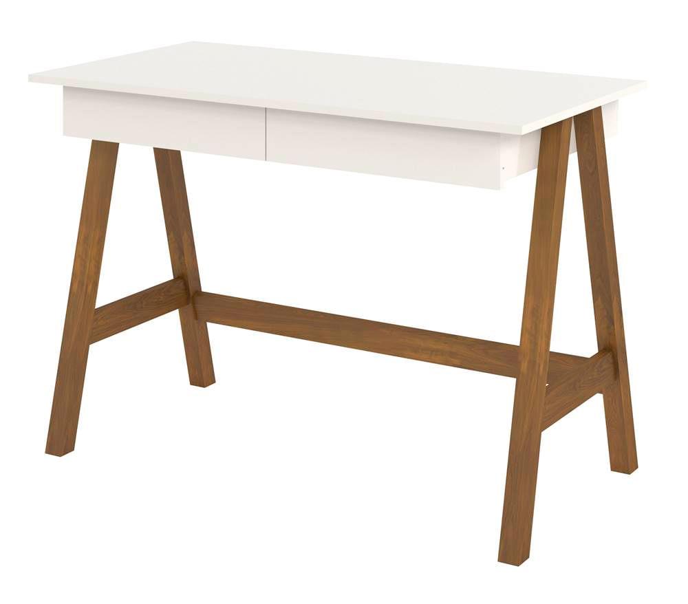 Escrivaninha Old Tampo Off White Base Amendoa 109cm - 61751