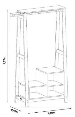 Closet Milão Caixas Brancas Base Amendoa 177cm - 61756