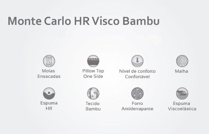 Colchão Casal Monte Carlo HR Visco Bambu 138x188x33 - 61851