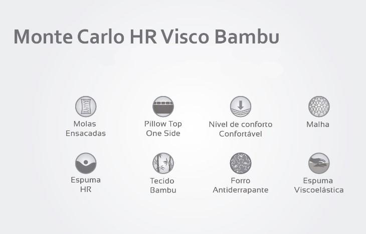 Colchão Casal Monte Carlo HR Visco Bambu 128x188x33 - 61853