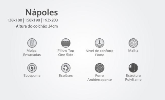 Colchão Casal Nápoles Tecido Malha 158x198x34 - 61865
