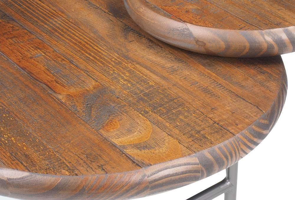 Mesa Centro Deck Tampo Rustic Brown Base Grafite 125cm - 61893