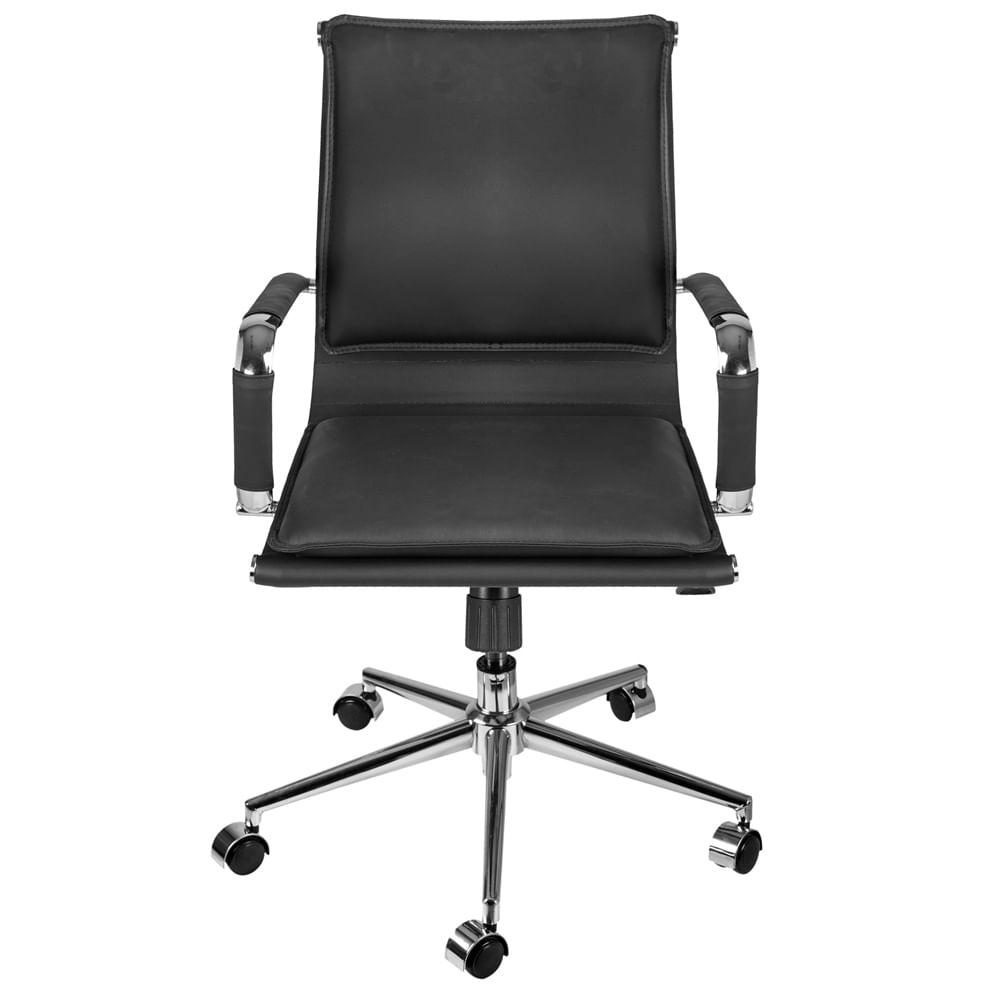 Cadeira Office Eames Baixa Assento Courino Preto com Base Cromada - 61926