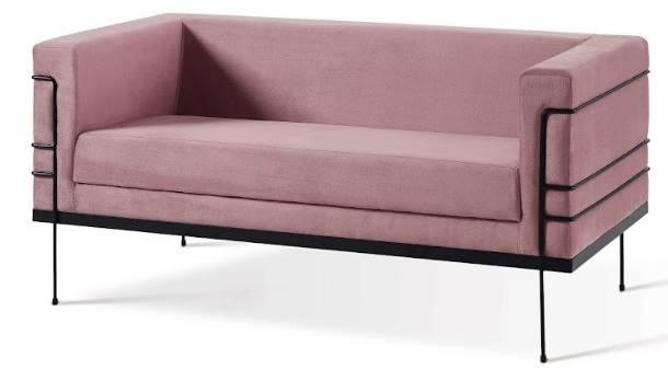 Sofá Le Corbusier Veludo Rosa 2 Lugares Base Preta 136cm - 62030