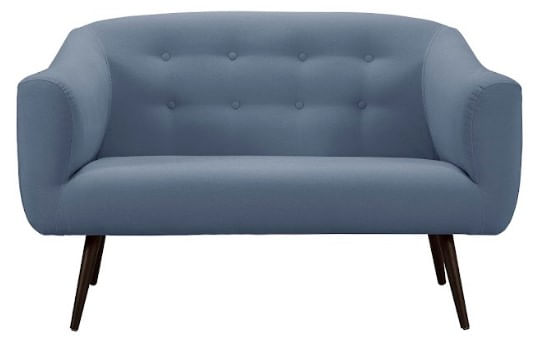 Sofa Zap Azul Jeans Base Preta 2 Lugares 135cm - 46705