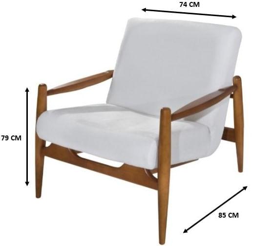 Poltrona Hand Assento Branco Base Madeira Amendoa - 62107