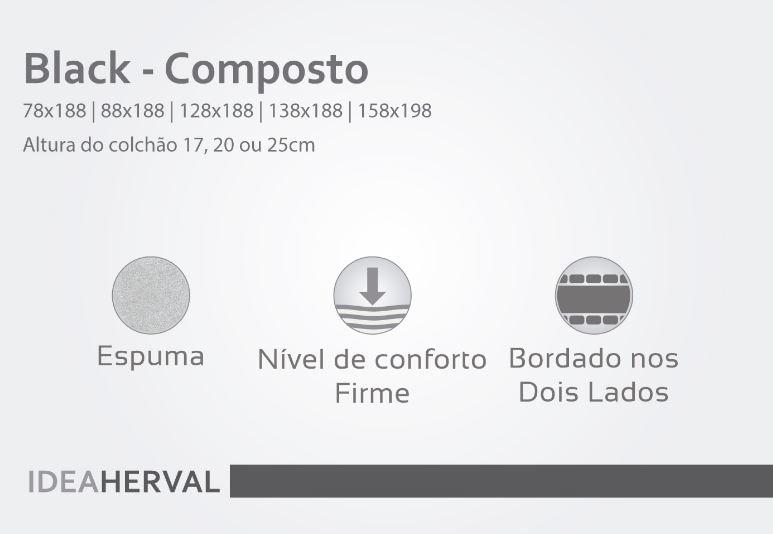 Colchão Black Casal Espuma 128x188x17 - 61919