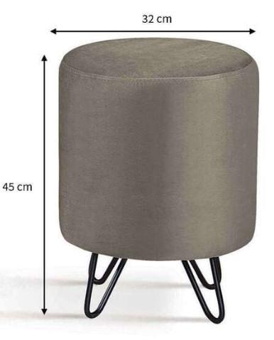 Puff Round Fendi Base Estrela Preta 45cm - 62146