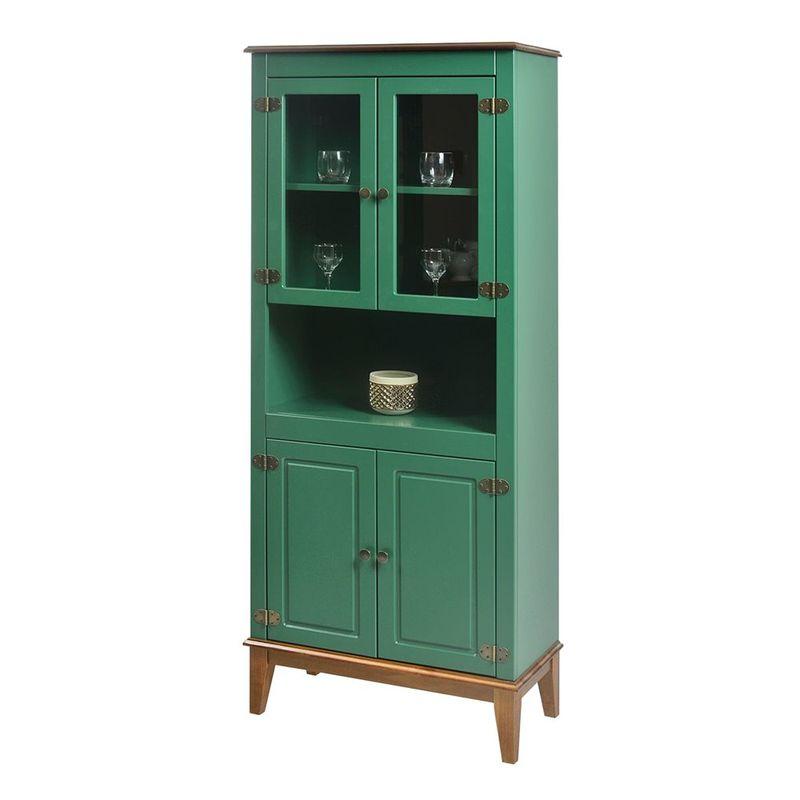 Cristaleira-Malu-4-Portas-cor-Verde-com-Base-Amendoa-180-cm---62823