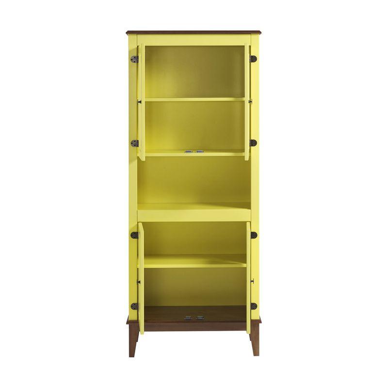 Cristaleira-Malu-4-Portas-cor-Amarelo-com-Base-Amendoa-180-cm---62826