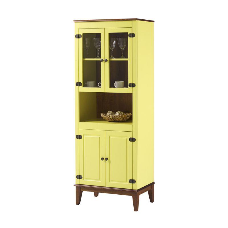 Cristaleira-Malu-4-Portas-cor-Amarelo-com-Amendoa-180-cm---62827