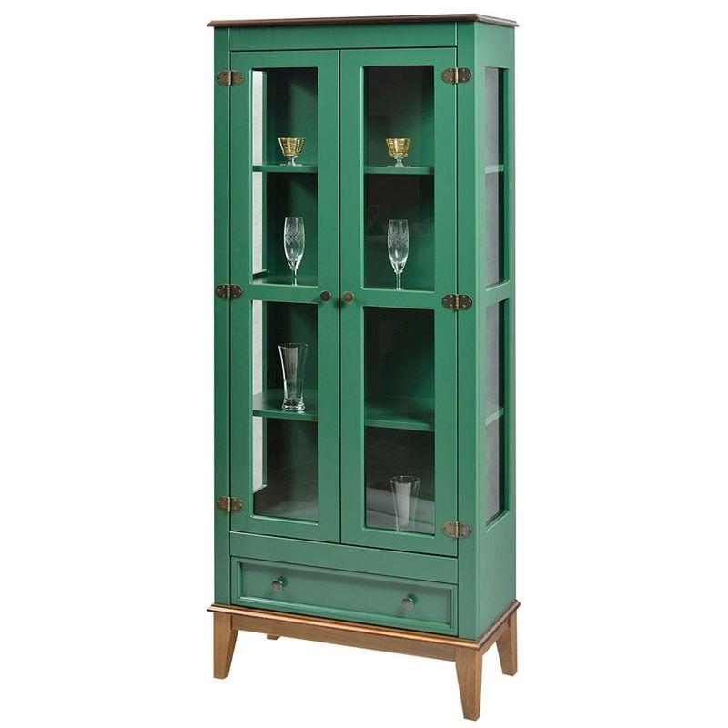 Cristaleira-Bia-2-Portas-e-1-Gavetas-cor-Verde-com-Amendoa-180-cm---59026