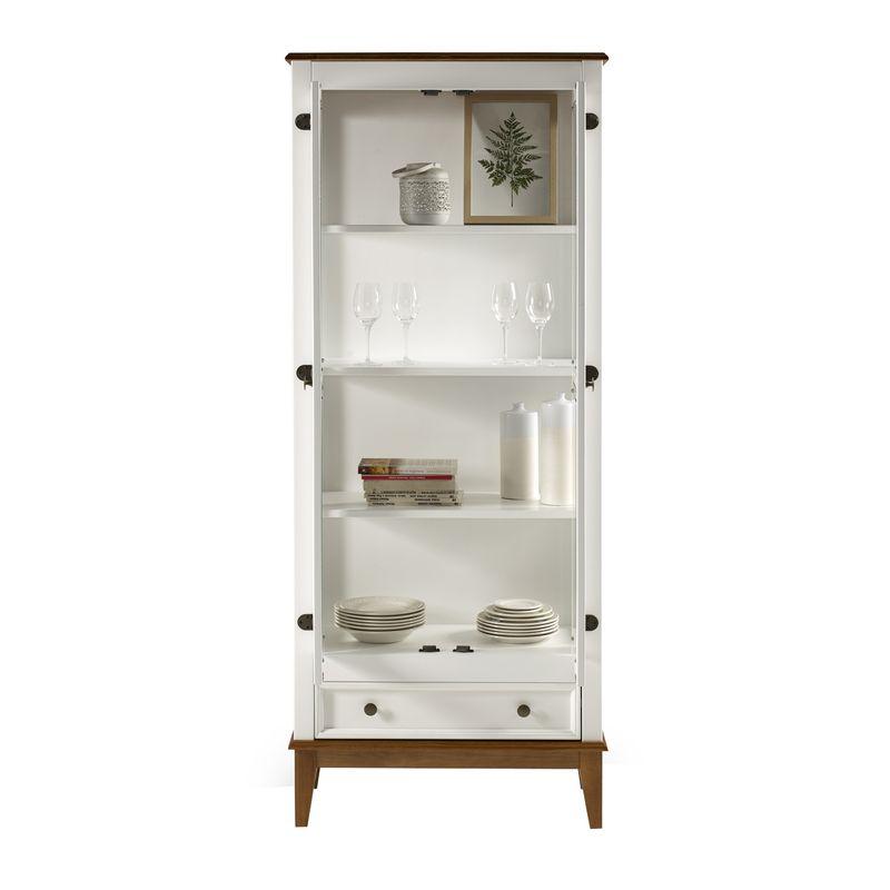 Cristaleira-Bia-2-Portas-e-1-Gaveta-cor-Branco-com-Amendoa-180-cm---62969