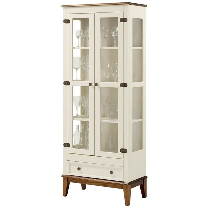 Cristaleira-Bia-2-Portas-e-1-Gavetas-cor-Off-White-com-Amendoa-180-cm---60752