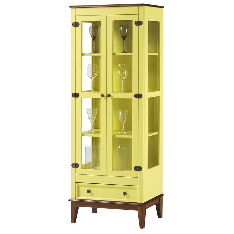 Cristaleira-Bia-2-Portas-e-1-Gavetas-cor-Amarelo-com-Amendoa-180-cm---62981