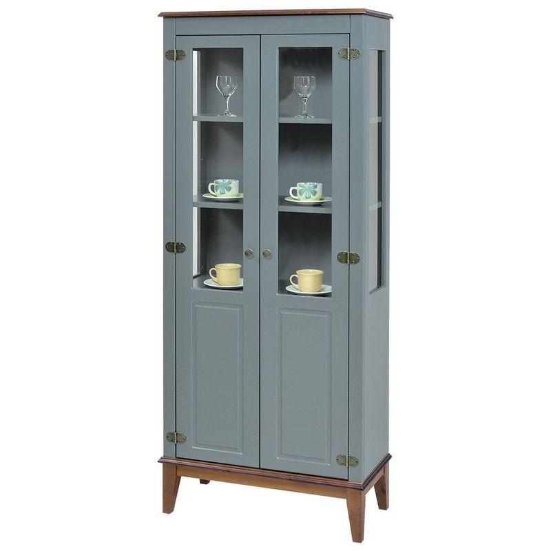 Cristaleira-Laura-2-Portas-cor-Cinza-com-Amendoa-180-cm---63355