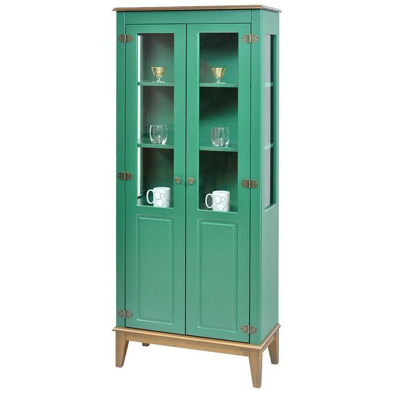Cristaleira-Laura-2-Portas-cor-Verde-com-Amendoa-180-cm---63392