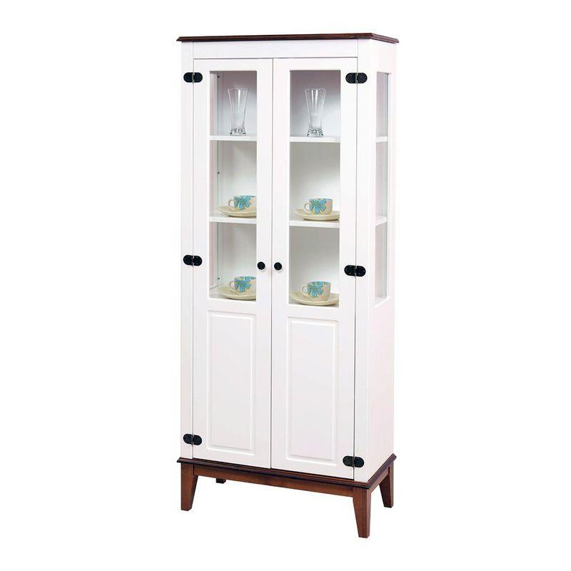Cristaleira-Laura-2-Portas-cor-Branco-com-Amendoa-180-cm---59882