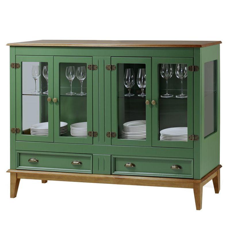 Cristaleira-Agatha-4-Portas-e-2-Gavetas-cor-Verde-com-Amendoa-149-cm---63477