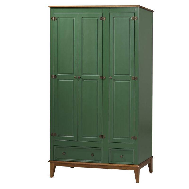 Armario-Malibu-3-Portas-e-2-Gavetas-cor-Verde-com-Amendoa-204-cm---63588