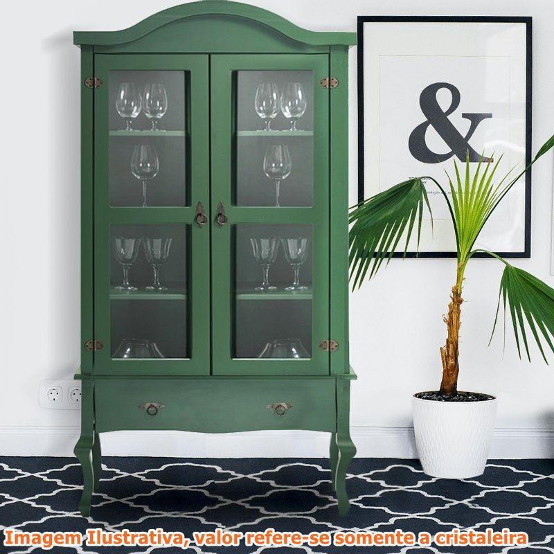 Cristaleira-Versalhes-2-Portas-e-1-Gaveta-cor-Verde-192-cm---63701